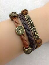 Bracelet marron et noir love et peace and love