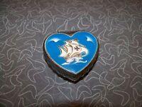 Vintage Heart Shaped Trinket Box Enameled Sailboat Design