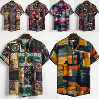 Men Linen Short Sleeve Shirt Summer Beach Loose Casual V-Neck T Shirts Top M-3XL