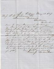 1857 letter Cusap & McMillan New Orleans to P.W. Williams Co Aurora IN/bank/hay