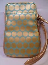 NEW Dot Gr/Bl Gold Wristlet Wallet Bag Universal Phone Case BlackBerry ATT LG