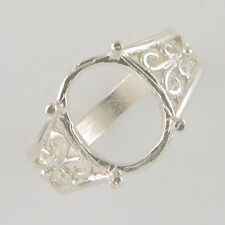 PRENOTCHED 12X10 OVAL RING SETTING CAST IN 10K WHITE GOLD SIZE 6.75 CR2285-10KW