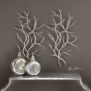 """PAIR XXL 37"""" HAMMERED BRIGHT SILVER LEAF FORGED IRON BRANCH WALL ART UTTERMOST"""