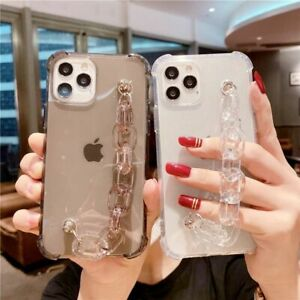 Luxury Transparent Bumper Phone Case Crystal Wrist Strap For iPhone 12 11 8 X XS