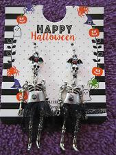 Dancing Skeleton With Lace Dress Dangle Earrings
