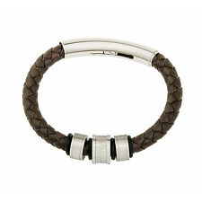 JOS VON ARX - BROWN LEATHER COMPOSITE WRISTBAND/BRACELET WITH GIFT BOX