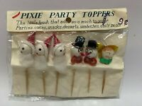 Christmas Pixie Party Toppers Cake Picks Vintage Santa Claus Angel Snowman New