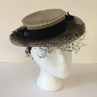 VTG 1940 Tuttle & Clark Ladies Hat Flat Top Sailor Straw Size 22.5 Blue Flower