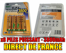 8 Piles AA 3800mAh Rechargeable Mignon LR6 1.2V Ni-Mh  TRES PUISSANT - DE FRANCE