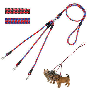 3 Way Dog Leash Nylon Rope Braided Small Puppy Dog Walking Lead For Three Dogs