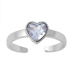 Heart Toe Ring Sterling Silver 925 Jewelry Assorted Colors CZ Face Size 6 mm