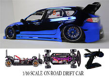 1/10 Scale Subaru Impreza WRX RTR Custom RC Drift Cars 4WD 2.4Ghz & Charger blue