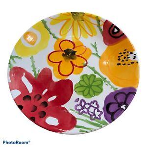 "Pier 1 Plate Garden Floral Collection 8.5"" Accent Dessert Salad Plate Red Purple"
