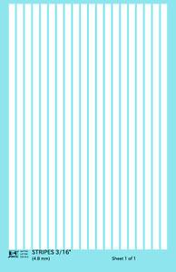 K4 HO Decals White 3/16 Inch Stripes Set