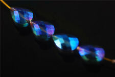10ps Blue Colorized Glass Crystal Faceted Teardrop Beads 18mm Spacer Findings