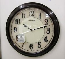 "NEW SEIKO  WALL CLOCK -DARK BROWN WOODEN CASE  13"" DIAMETER - QXA667BLH"