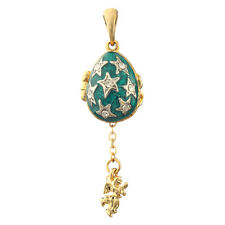Faberge Egg Pendant / Charm with Stars & Angel 2.2 cm #0731-10