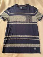 Express Men's Short Sleeve Slub Knit Crewneck blue / gray / gray w/pocket NWOT M