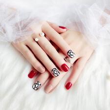 NEW 24pcs Red Star 3D Fashion DIY Art Girls Short False Fake Nails Glue N323