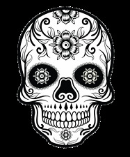 Sugar Skull #4 monocrome Sticker Decal DAY OF THE DEAD ipad computer CAR DECAL