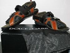 NEW $725.00 DOLCE & GABBANA ITALY BROWN LEATHER SPORT SANDALS SIZE US 10/ 9/ 43