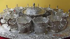 Hand Crafted Persian Sterling Silver 90 Tea Set 14 Picece .Marked 90-Navaea