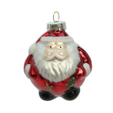 Gisela Graham Single Glass Round Santa Christmas Tree Ornament