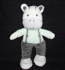 Baby Gear Zebra Plush Green Shirt Gray Pants Sneakers Suspenders Stuffed Animal