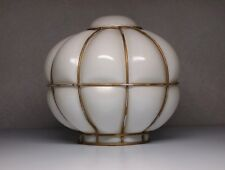 Vintage Art Deco Milk Glass Ceiling Light Lamp Shade Globe With Wire