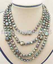 """64""""12-13mm Coin Black Pearl Long Necklace-Silver Clasp"""