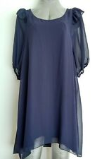 ASOS tunic dress size 10 navy Dip Hem 3/4 sleeves--BRAND NEW--