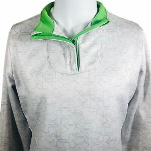 Under Armour Womens Large 1/4 Zip White Green Geometric Logo Pullover Sweatshirt