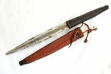 Antique Large African Ethnic Tribal Knife Dagger With Leather Sheath