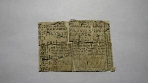 1768 Two Shillings North Carolina Colonial Currency Note Bill! Revolutionary War