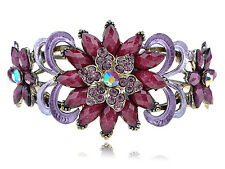 Purple Enamel Paint Burgundy Bead Flower Vogue Bracelet Bangle Cuff Jewelry Band