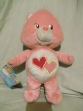 "10"" 2003 Pink Loves-a-Lot Care Bear Tags & fabric label TCFC"