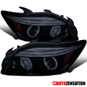 For 2005-2010 Scion tC Glossy Black Smoke Dual LED Halo Rim Projector Headlights