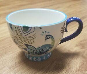Dutch Wax by Coastline Imports Turquoise Peacock Hand Painted Ceramic Mug 22 oz