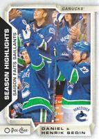 2018-19 O-Pee-Chee Hockey #557 Daniel Sedin Henrik Sedin SH Vancouver Canucks