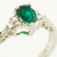 Emerald Pear Diamond Right Hand Ring Gorgeous Ladies 14K White Gold Synthetic