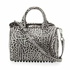 ALEXANDER WANG NEW ROCKIE DUMBO WHITE BLACK PEBBLED LEATHER SATCHEL BNWOT $875