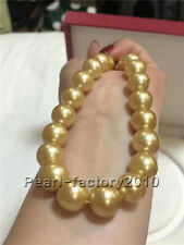 golden stunning AAA 12-15 mm south sea round  pearl necklace 18inch silver