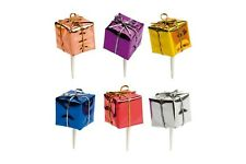 Foil Wrapped Christmas Gifts on Picks Christmas Cake Decorations