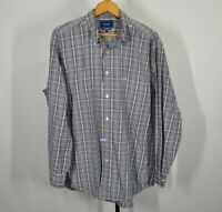 Faconnable Large Long Sleeve Button Front Shirt Blue Black White Plaid
