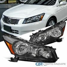 Fit 08-12 Honda Accord Replacement 4Dr Sedan Black Headlights Headlamps Set Pair