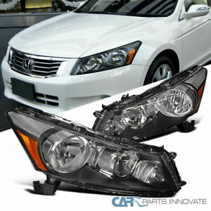 Headlights Fit 08-12 Honda Accord 4Dr Sedan EX/SE Black/Clear Lamps Replacement