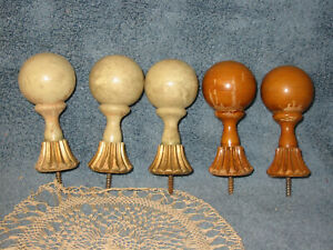 5 Vtg Antique Carved Wood Finials Bed Posts Furniture Dome Ball Knobs Salvage