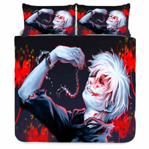 Tokyo Ghoul 3D Design Bedding Set 3PC Of Duvet Cover Pillowcase Double King#