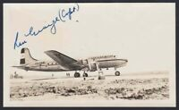 KLM Airlines DC-4 on runway signed by KLM pilot Captain Ron George circa 1946