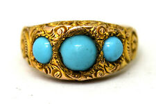 Vintage 10K Solid Gold and Natural Turquoise Ring Size 7 1/4